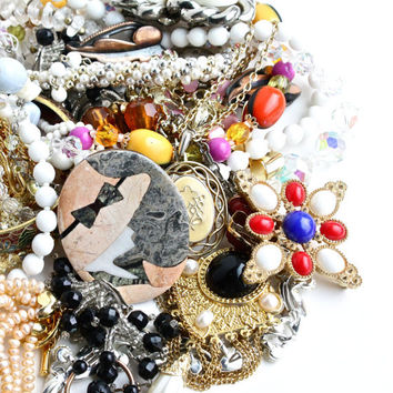 SALE - Huge Lot of Vintage Costume Jewelry - Pins, Earrings, Necklaces, Beads, Bangles, Pearls / 1 Pound 14 Ounces Intact Destash Lot
