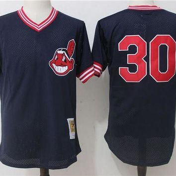 ONETOW Men's Cleveland Indians Joe Carter Mitchell & Ness Navy 1986 Authentic Cooperstown Collection Mesh Batting Practice Jersey