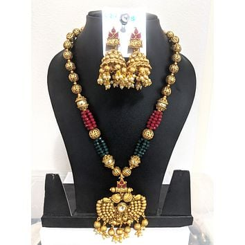 Yellow Matte gold finish bead chain Necklace and Earring set - Design 1