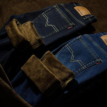 Selling Straight Velet Lining Black Blue Colors Men Jeans Pants