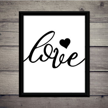 Love - Single Heart - Valentine's Day - Romantic Print - Instant Download - Digital Art - Printable - Gift - Wedding Decor - Typography - XO