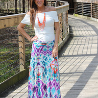 Hippie Dippy Maxi Skirt, teal