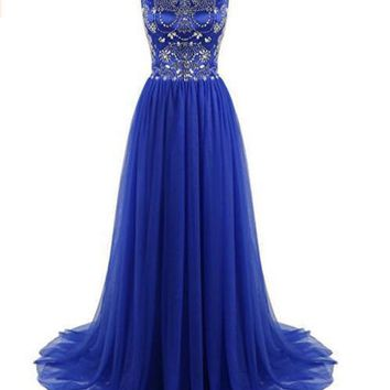 Wome's Long Prom Dress Beaded Tulle Evening Dress Cap Sleeves Party Gowns