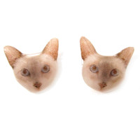 Realistic British Shorthair Kitty Cat Face Shaped Animal Resin Stud Earrings | Made To Order | Handmade