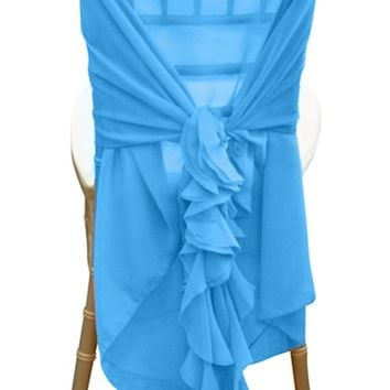 Chiffon chair hood with ruffles Malibu - Chair Caps - Sashes - Wholesale Wedding Chair Covers