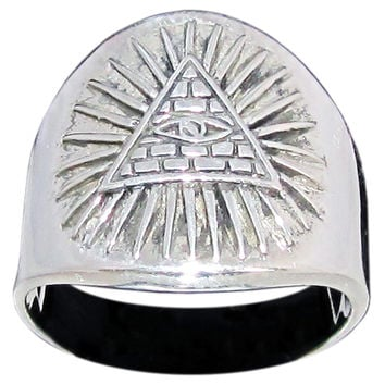 Masonic All Seeing Eye Pyramid Ring Illuminati Eye of Providence Symbol in Sterling Silver 925