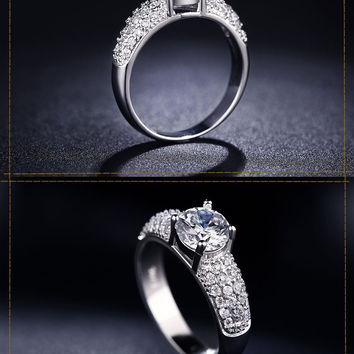 Vintage Engagement Wedding Rings For Women White Gold & Rose Gold Plated CZ Diamond Jewelry Ring Bijoux Best Gift CC024