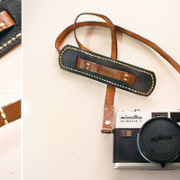 Classic leather camera strap brown and black by wanderwandering
