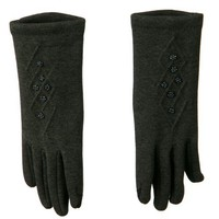 Women's Beads and Diamond Stitching Glove - Grey OSFM W21S33E