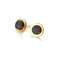 Mini Falls Forever Earrings (black druzy inlay)