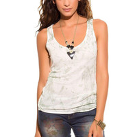 Q2 Green Tie Dye Knit Tank Top