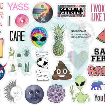 Set #125. Tumblr Stickers. Kiss-cut. Stickers. Set of stickers. Decals