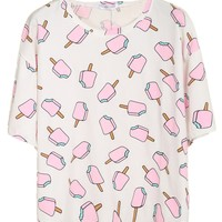 Sheinside® Women's White Short Sleeve Popsicles Print T-shirt (One Size, White)