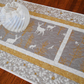 Winter or Christmas Table Runner with Woodland Creatures, Quilted Table Runner, Silver and Gold