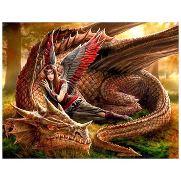 5D Diamond Painting Red Tipped Wing Angel and Dragon Kit