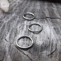 """18g Septum Tragus Helix Hoops Rings Stainless Steel Annealed Seam Jewelry High Polish Silver Hoop Earrings Nose Ring Tiny 1/4"""" dia 5/16"""" one"""