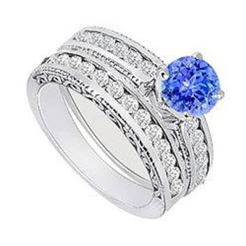 Tanzanite & Diamond Engagement Ring with Wedding Band Sets 14K White Gold  1.00 CT TGW
