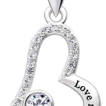 "Jewelry Sterling Silver ""Love my mother-in-law"" Love Heart Cubic Zirconia Pendant Necklace"