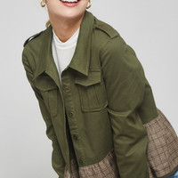 Plaid Skirted Military Jacket
