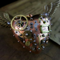 Steampunk pendant, Steam punk jewelry, Mechanical flying heart, Victorian accessory, Steampunk costume gift, Watch gears parts pendant