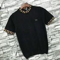 Fendi New fashion letter knit short sleeve top t-shirt women Black