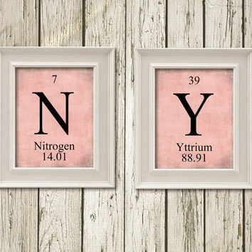 NY New York Periodic Table Elements Print Printable Instant Download Pink Burlap Black Art Print Poster Wall Decor PT007bur11