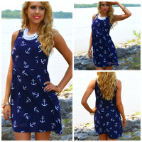 Sail Her Away Navy Anchor Print Dress