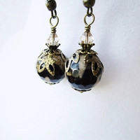 Black & Tan Faceted Agate and Tiny Tan Crystal Bronze Filigree Leaf Earrings