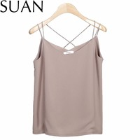 SUAN 2017 Vests Summer New Women Chiffon Camis Vest Tops Tees Slim Solid Color Chiffon Patchwork Casual Tank Tops 2332 Brand