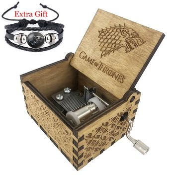 Engraved Wooden House Stark GOT Music Box