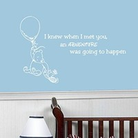 Wall Decals Quotes Winnie the Pooh Quote - I knew when I met you an adventure was going to happen - Kids Boys Girls Nursery Baby Room Wall Vinyl Decal Stickers Bedroom Murals