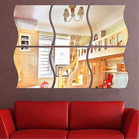 Newest Style DIY  Wall Mirror Sticker Art Vinyl Mural Decor Decal Removable Bathroom Home Room Dormitory Decoration