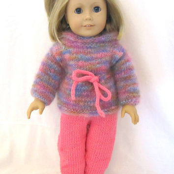 American Girl Doll Sweater Legging Set Pink Rainbow
