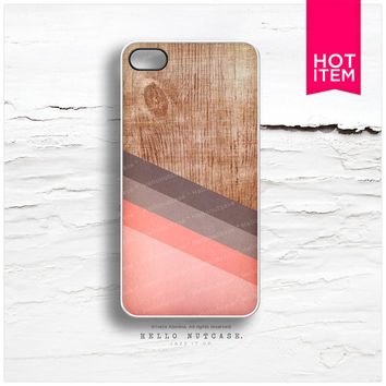 iPhone 4 and 4S case Wood and Coral Stripes Geometric Pattern I32