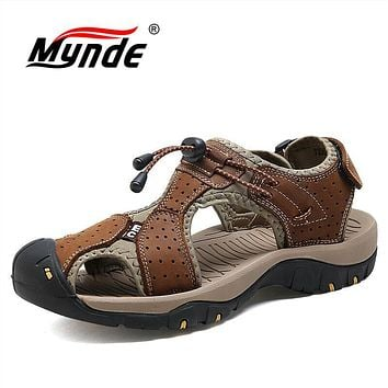 3c08b1a5c Mens Fashion Summer Beach Breathable Sandals Genuine Leather Sho