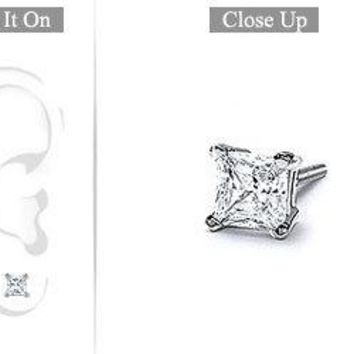 Mens 18K White Gold : Princess Cut Diamond Stud Earring - 0.75 CT. TW.