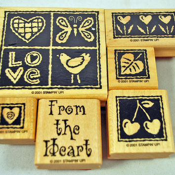 """STAMPIN' UP Stamp Set, Rubber Stamps """"Heart Blocks""""  - 2001 Mint Never Used Retired Set for Scrapbooking. Cardmaking, Crafts Hard to Find"""