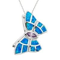 Lab-Created Blue Opal & Cubic Zirconia Sterling Silver Butterfly Pendant Necklace (Blue/Purple/Stone)