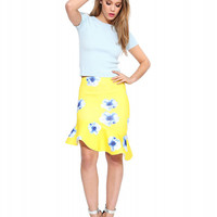 Yellow Floral Print Fishtail Skirt