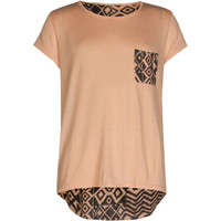 Full Tilt Printed Back Girls Pocket Tee Peach  In Sizes