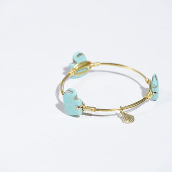 Ships Free! Turquoise Elephant Stone Wire Wrapped Bangle Bracelet (Inspired by Bourbon and Bowties) - Perfect gift idea!