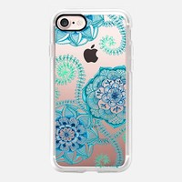 Sweet Teal & Blue Floral Doodle on Transparent iPhone 7 Case by Micklyn Le Feuvre | Casetify