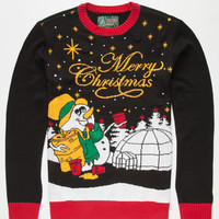 Ugly Christmas Sweater Snowman Mens Light Up Sweater Black  In Sizes
