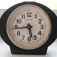 Shabby chic Alarm clock - Black alarm clock - Soviet clock 'Jantar' - Made in USSR - Vintage Alarm Clock - Working