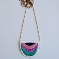 Abstract embroidered necklace on matte gold tone ball chain. Summer 2017 colors in emerald green, violet, pink and blue An Astrid Endeavor