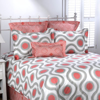Susette Coral and Gray Bedding Set