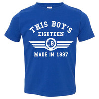 This Boy's Eighteen Made in 1997  Customized 18th Birthday Youth T Shirt Happy Eighteenth Birthday Fun Shirt for Boy's 18th Birthday Shirt