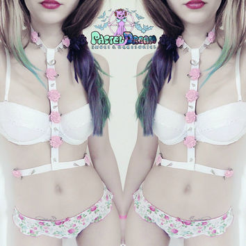 Sexy Lolita Pastel Goth Body Harness faux Leather Choker Flowers spikes Soft Grunge, kawaii,harajuku,nugoth