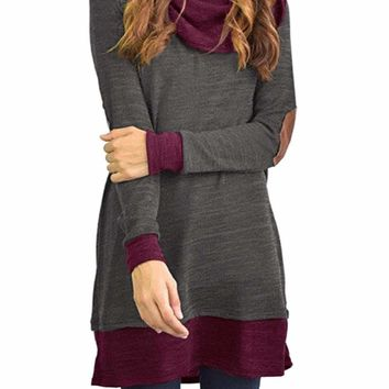 Gray Elbow Patch Cowl Neck Tunic Dress