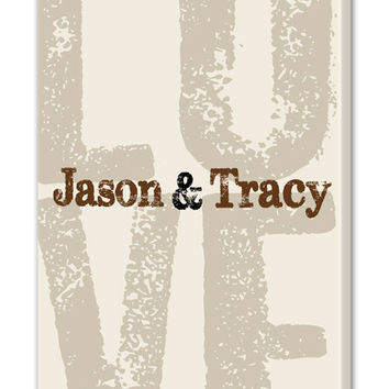 Personalized LOVE Canvas Wall Art, Couples Established Name Canvas, Includes First Names & Established Date, Wedding Gift